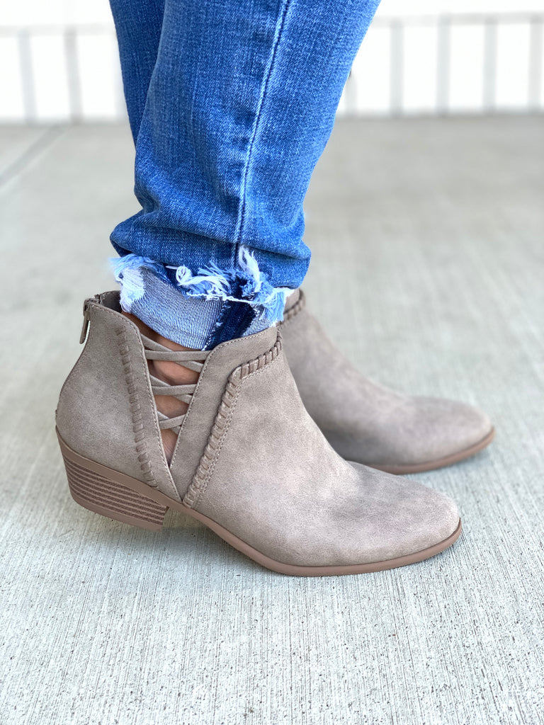 sincere criss cross ankle booties