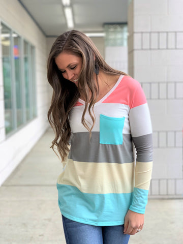 Spring Stripe Vneck Pocket LS