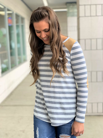 Gray Striped Suede Patch LS Top