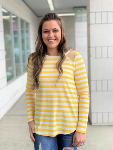 Yellow Striped Suede Patch LS Top