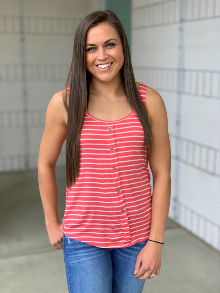 coral white striped button front tank