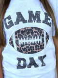 Game Day Leopard Football Graphic Tee