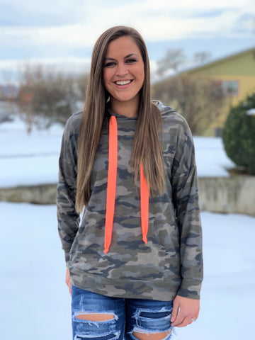 Camo & Neon Coral Hoodie