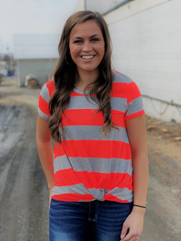 Gray & Neon Coral/Orange Side Knot Top