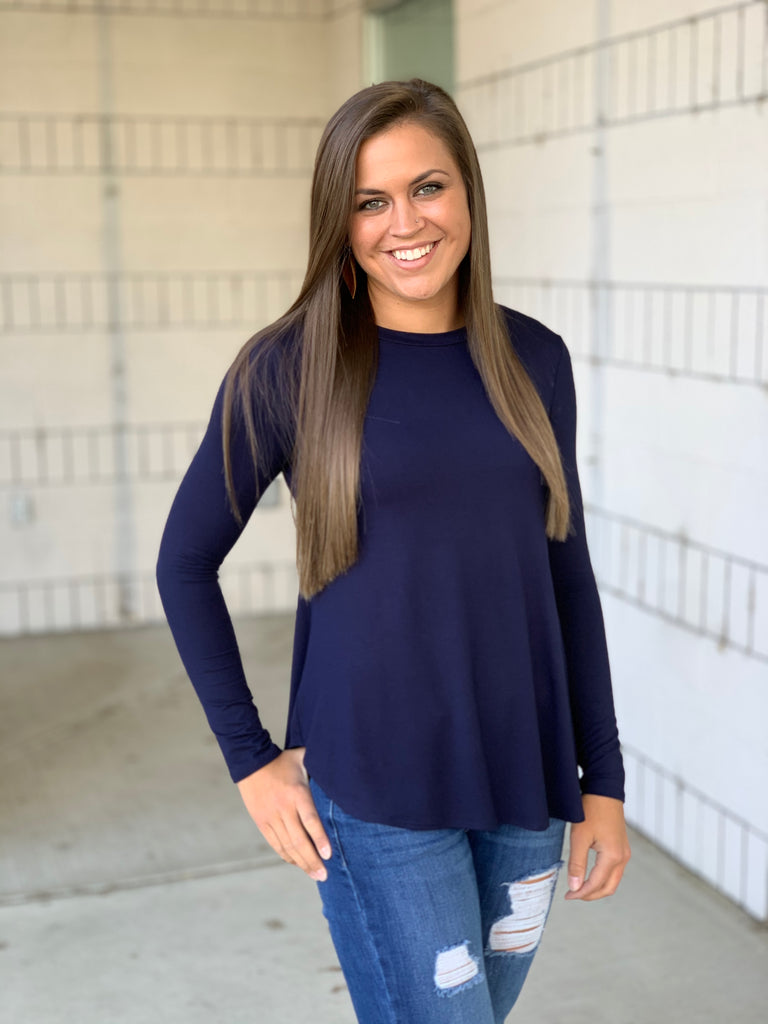 Navy Blue Long Sleeve Layering Tee (SM-3X)