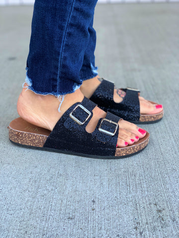 Black Sparkle Birk Sandals