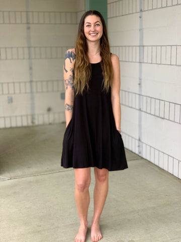 Black Tank Top Pocket Dress (SM-3X)
