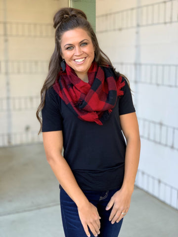 Black Red Buffalo Plaid Infinity Scarf