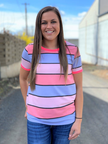 Pink & Periwinkle Striped Ringer Tee
