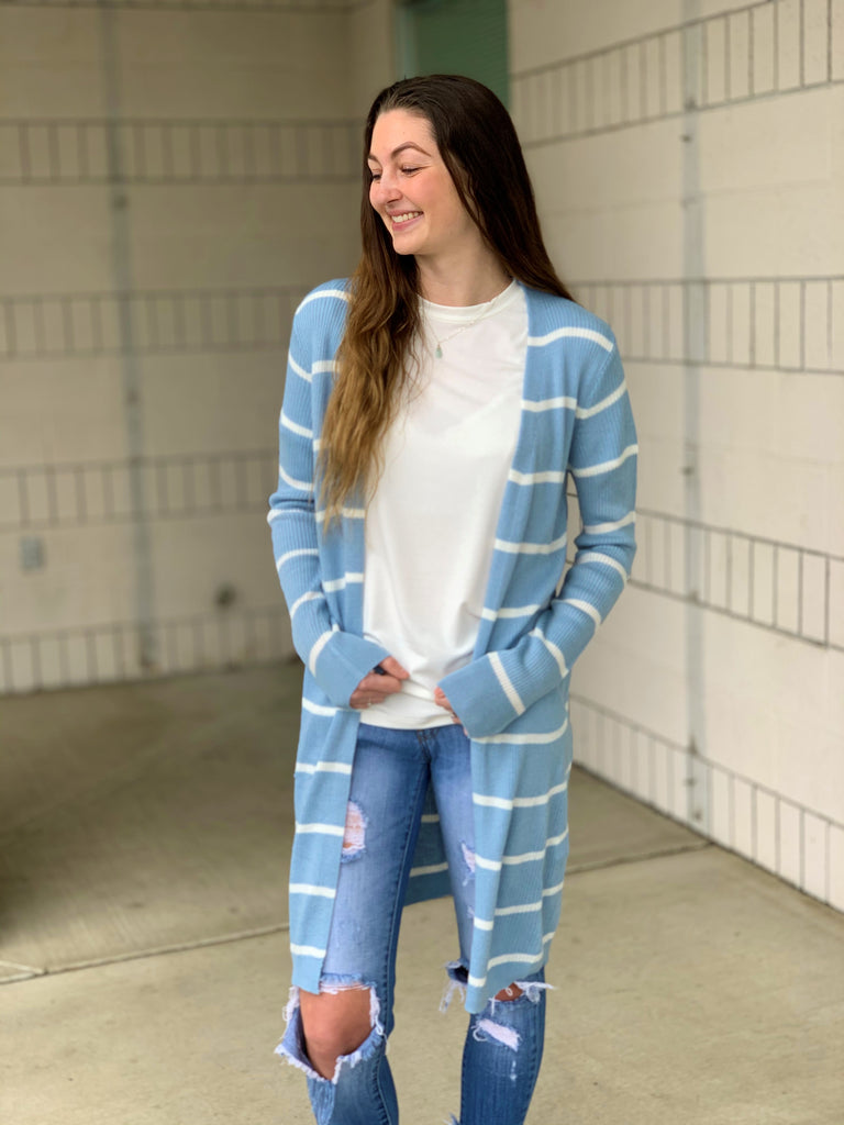 Sky Blue Spring Striped Long Cardigan (SM-3X)