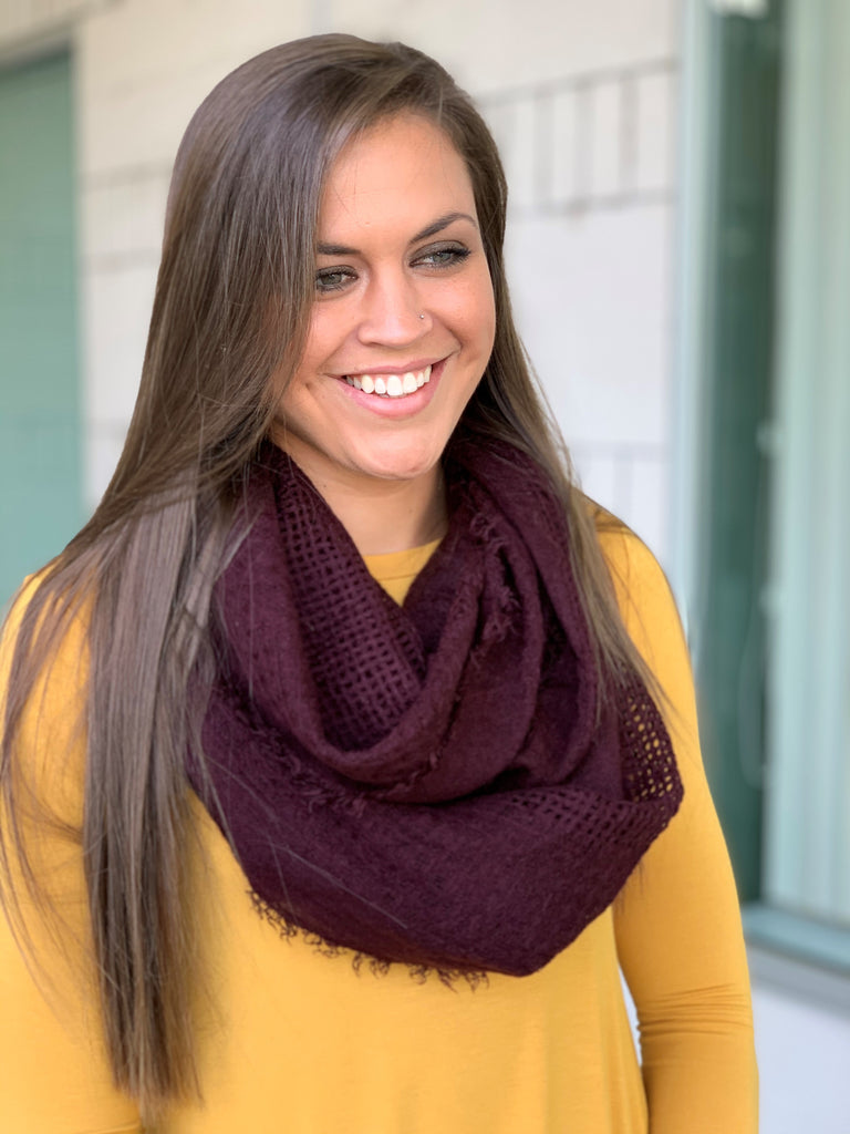 Burgundy Shredded Weave Infinity Scarf