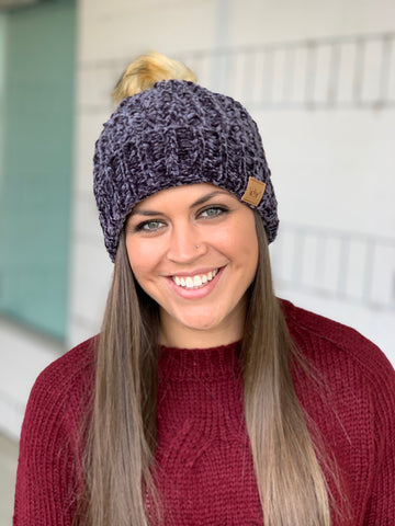 Charcoal Chenille Cuffed Lined Pom Beanie