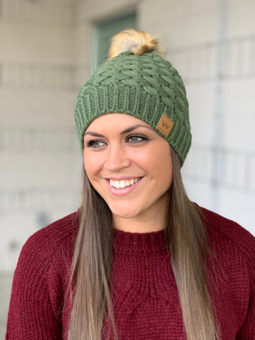 Olive Basket Weave Lined Pom Beanie