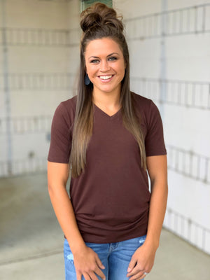 brown basic vneck tshirt