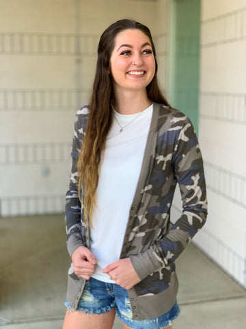 Dusty Camo Snap Front Cardigan (SM-3X)