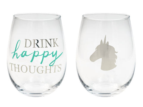 Drink Happy Thoughts Unicorn Stemless Wine Glass Set
