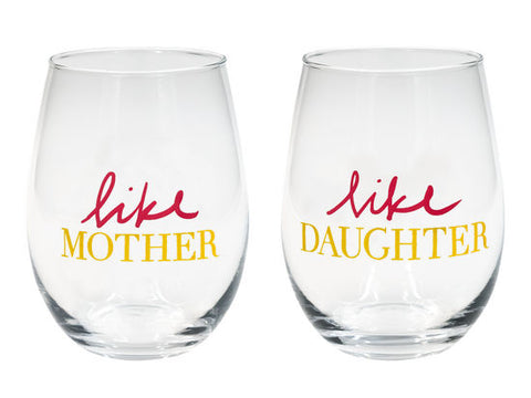 Like Mother Like Daughter Stemless Wine Glass Set