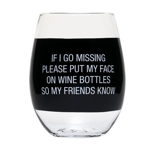 Face On Wine Bottles Stemless Wine Glass