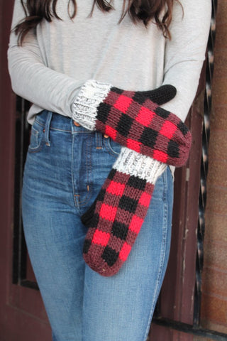 Buffalo Plaid Lined Mittens