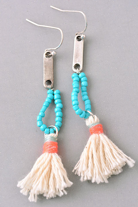 Turquoise & Ivory Tassel Earrings