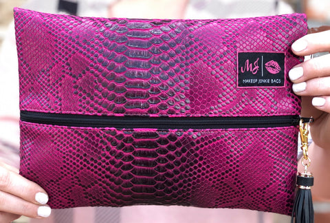 Magenta Snake Makeup Junkie Bag - Medium