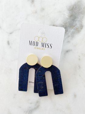 Navy Blue Cork Leather Arch Earrings w/Gold Stud