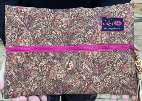 Paisley Cork Makeup Junkie Bag - Small