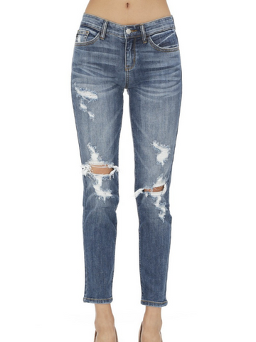 JB Medium Wash Skinny Boyfriend Jeans