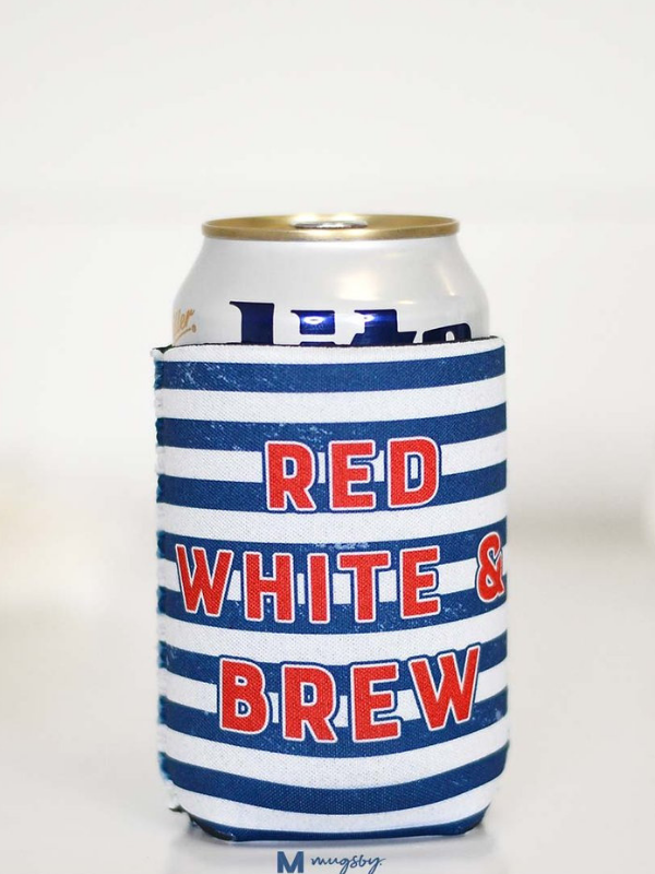 Red White Brew Can Cooler