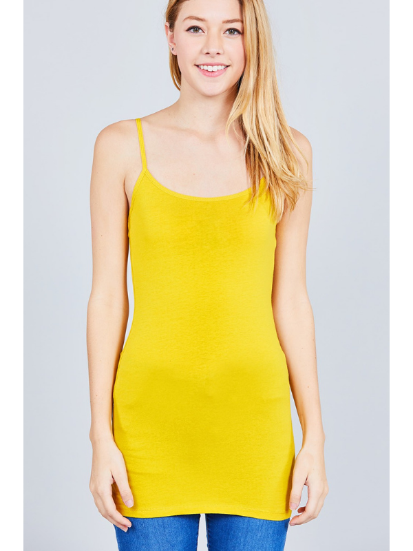 True Mustard Basic Cotton Long Adjustable Spaghetti Strap Cami Tank