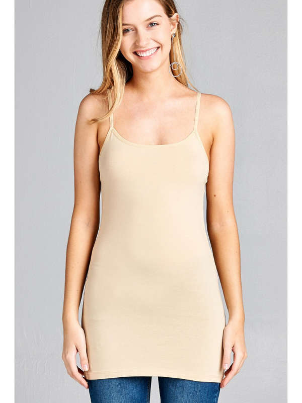 Taupe Basic Cotton Long Adjustable Spaghetti Strap Cami Tank