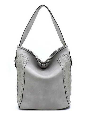 Light Gray Lasered & Laced Bucket Bag Purse