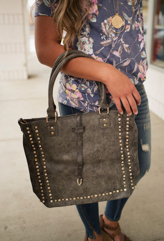 Distressed Brittany Studded Tote