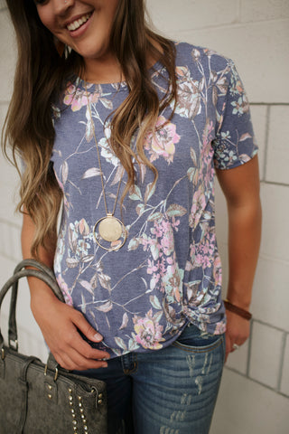 Heathered Navy Pink Mint Floral Side Knot Top - SM-3X