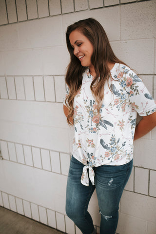 Ivory Mixed Floral Front Tie Top