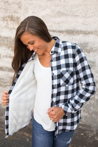 Black & White Plaid Sherpa Lined Flannel Button Up Top (SM-3X)