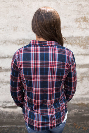 Navy Red Plaid Roll Up Sleeve Button Up Top
