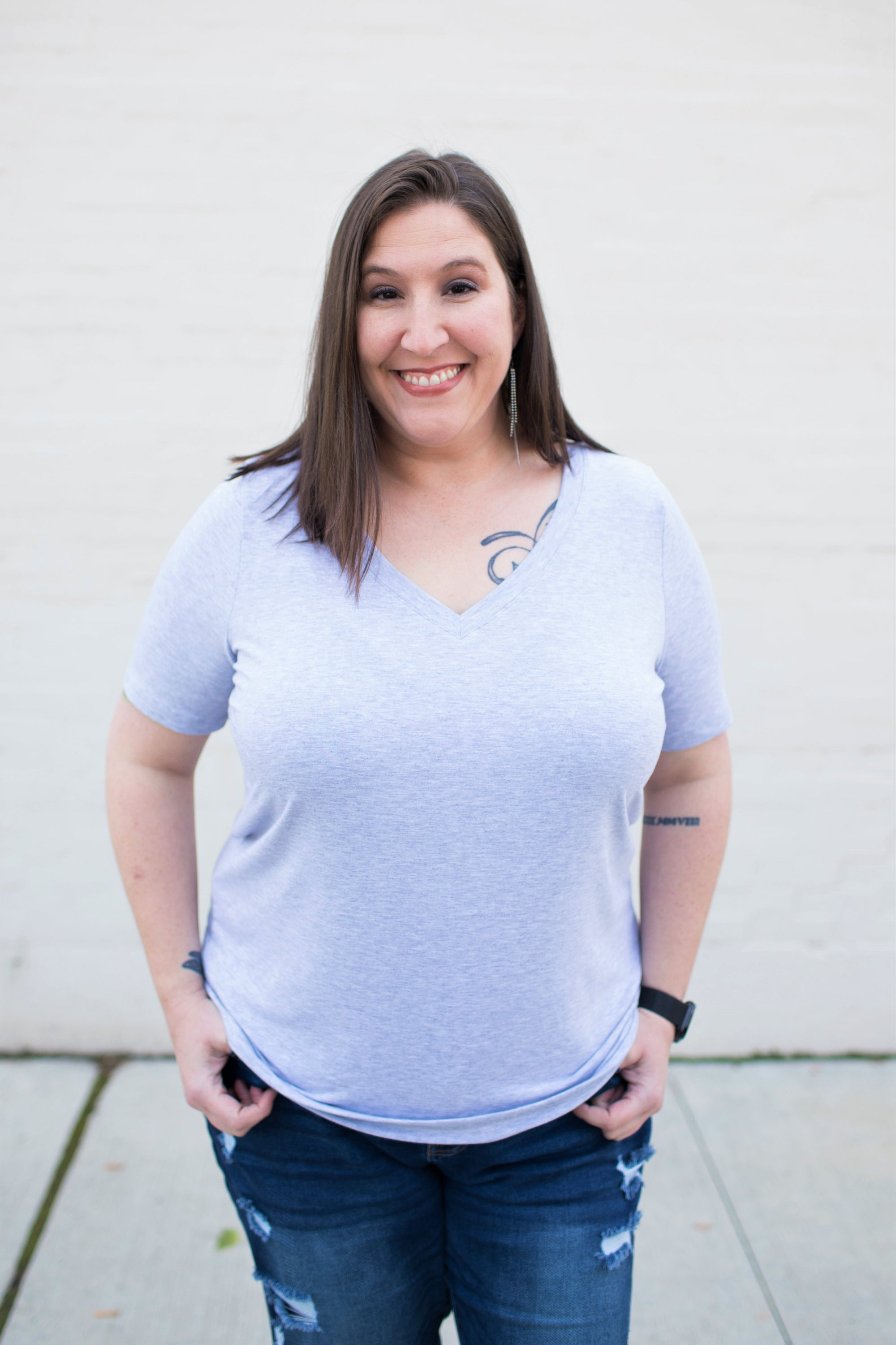 Heather Gray Basic Vneck Tee (1X-3X)