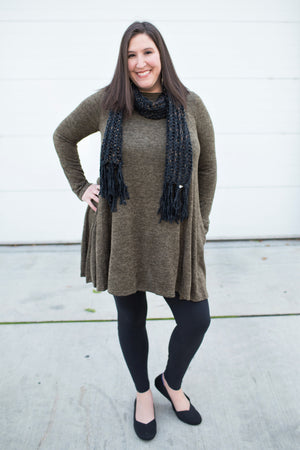 Dk Olive Green Sweater Pocket Dress (1X-3X)