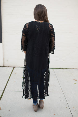 Black Lace 3/4 Sleeve Duster (SM-3X)