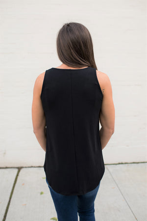 Black Basic Scoop Flowy Tank (SM-3X)
