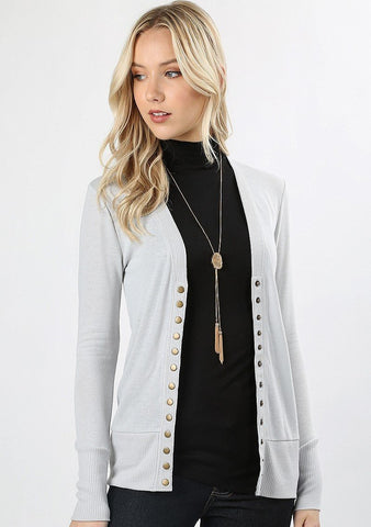 Silver Gray Snap Front Cardigan