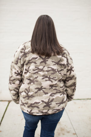 Green Cream Camo Zip Up Sherpa Jacket (SM-3X)