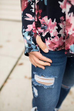 Navy Pink Floral Strappy Chest LS