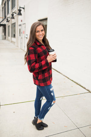 Buffalo Plaid Half Zip Sherpa Pullover