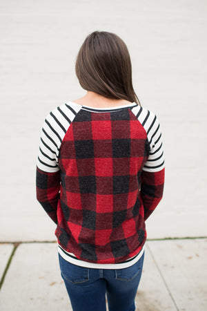 Buffalo Plaid & Stripes Pullover Raglan LS (SM-3X)