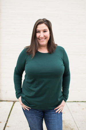 Hunter Green Basic Cotton Long Sleeve Tee (SM-3X)