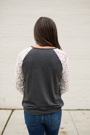 Charcoal & White Lace Sleeve Pullover LS (SM-3X)
