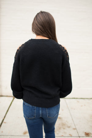 Black Lace Open Shoulder Pullover Sweater (SM-3X)
