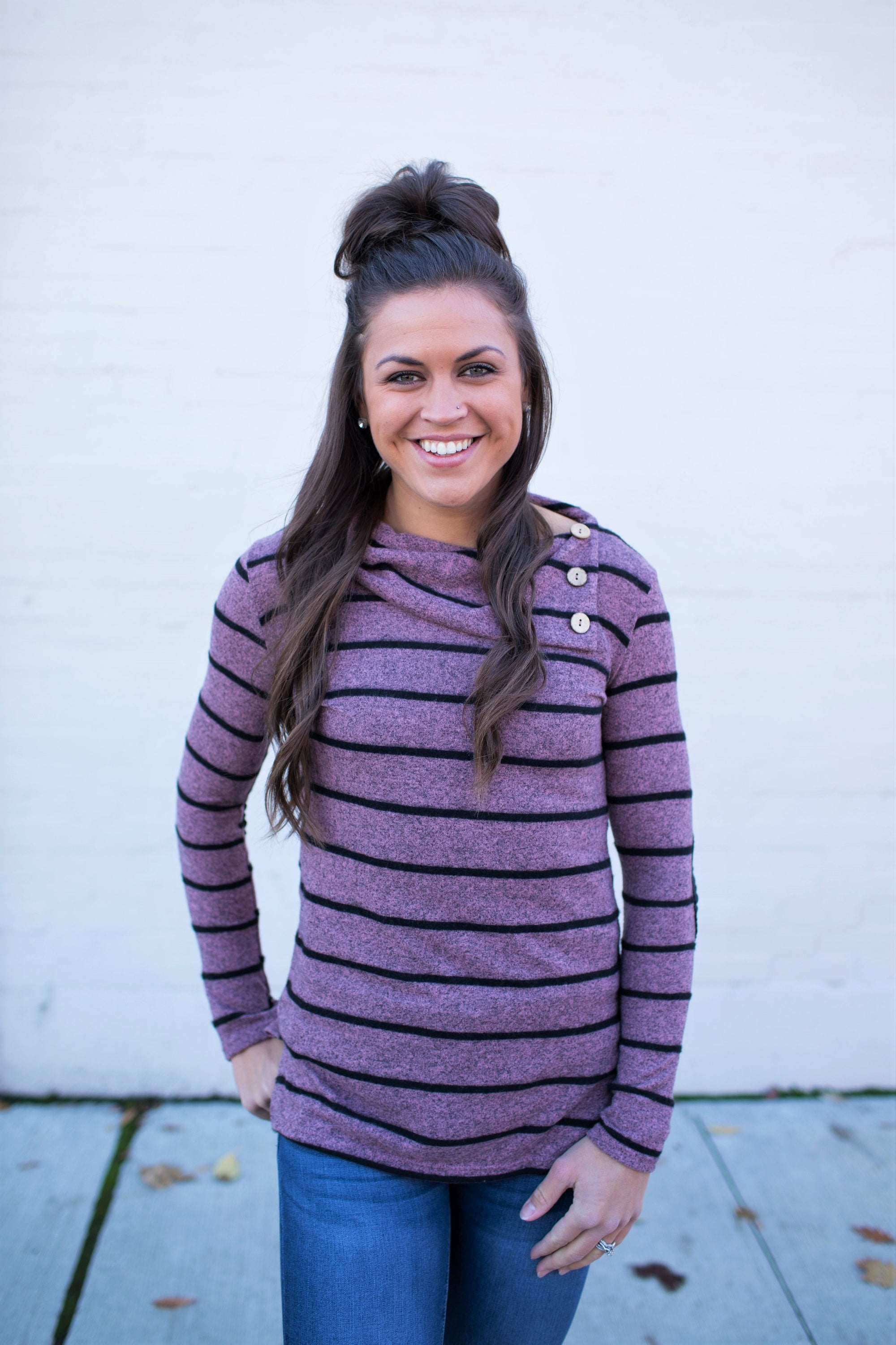 Mauve Black Striped Hacci Button Tunic Sweater